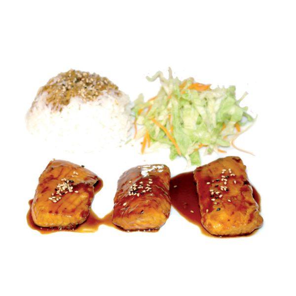 Sake Teriyaki con riso